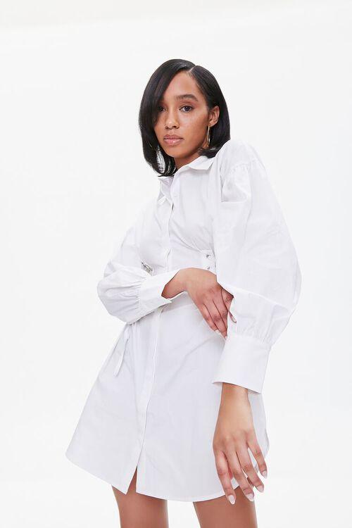 Poplin Lace-Up Shirt Dress, image 1