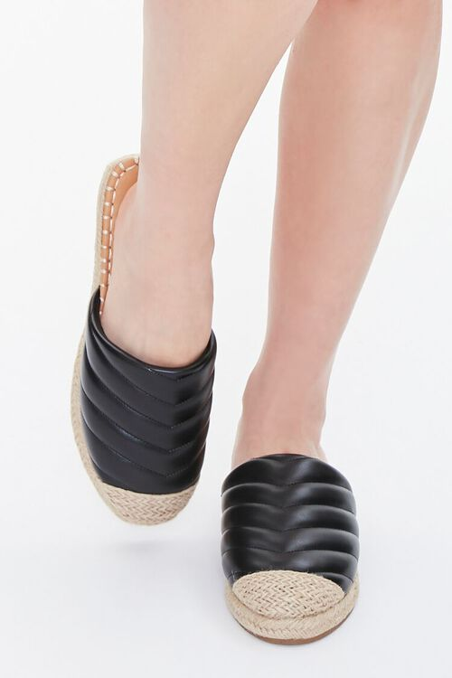 BLACK Quilted Espadrille Flats, image 4