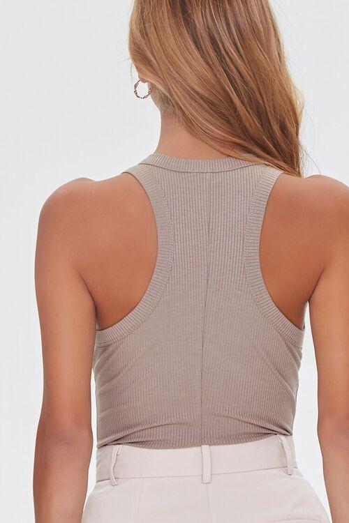 TAUPE Ribbed Sleeveless Bodysuit, image 3
