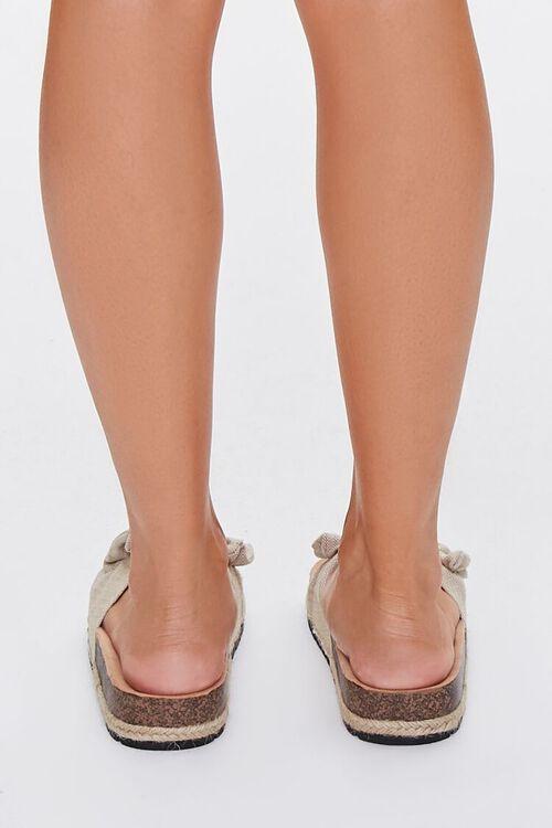 BEIGE Linen Bow Cork Flatform Sandals, image 3