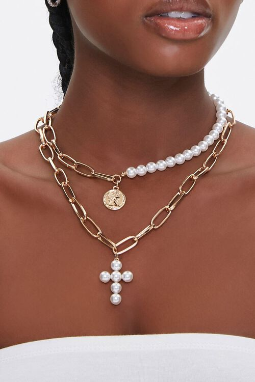 Faux Pearl Cross Pendant Layered Necklace, image 1