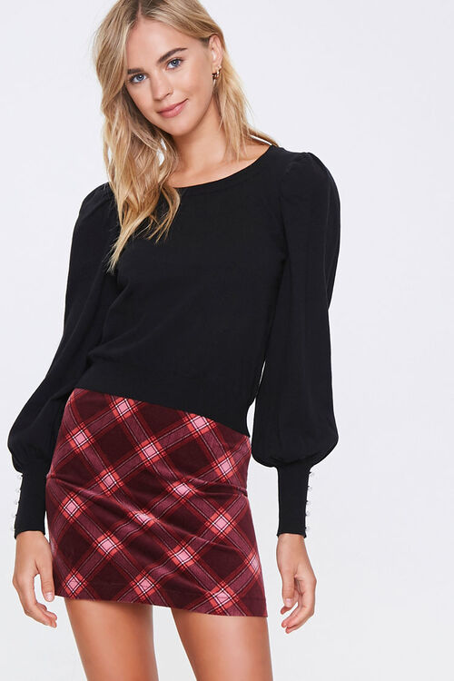 Sweater-Knit Faux Pearl Top, image 1