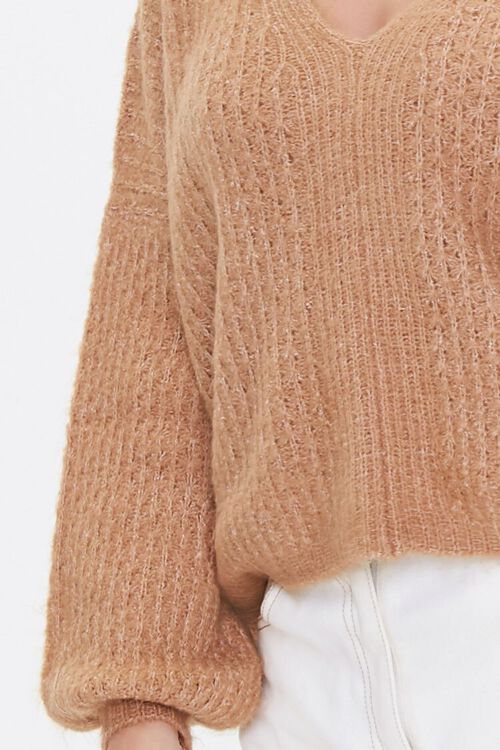 Open-Knit V-Neck Sweater, image 5