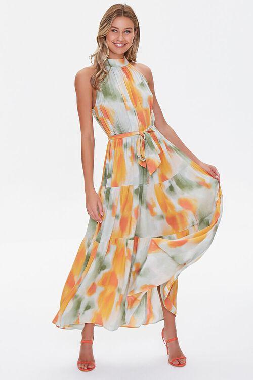 Watercolor Wash Halter Maxi Dress, image 1