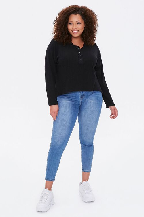 Plus Size Ribbed Henley Top, image 4