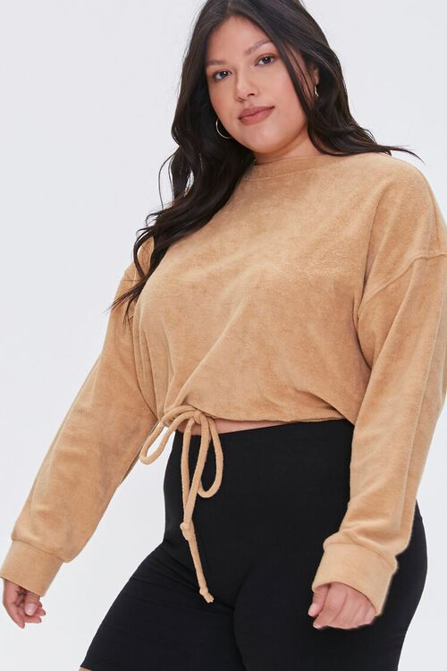 Plus Size French Terry Drawstring Pullover, image 1