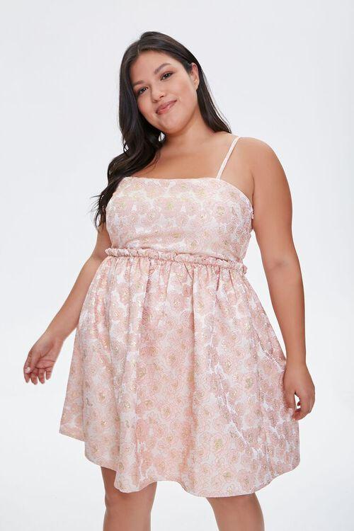 Plus Size Jacquard Rose Print Dress, image 6