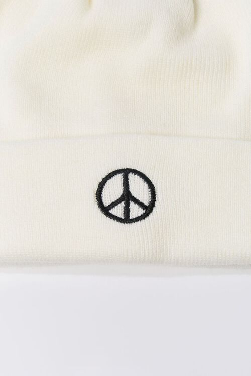 Peace Sign Embroidered Beanie Set, image 4