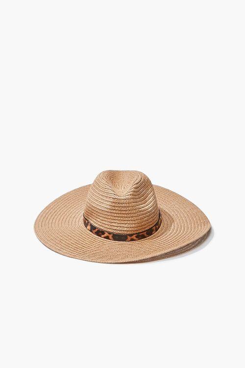 Faux Straw Leopard Print-Trim Hat, image 1
