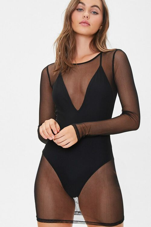 Sheer Mesh Swim Cover-Up Dress, image 1