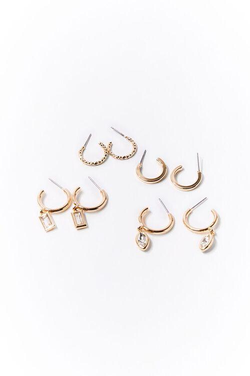 GOLD Faux Gem Small Hoop Earring Set, image 1