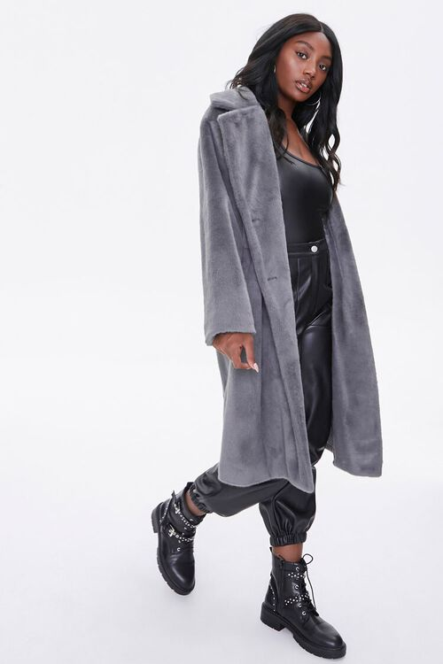 Faux Fur Button-Front Trench Coat, image 4