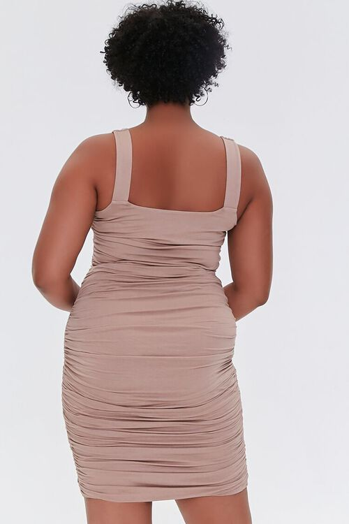 TAUPE Plus Size Ruched Bodycon Dress, image 3
