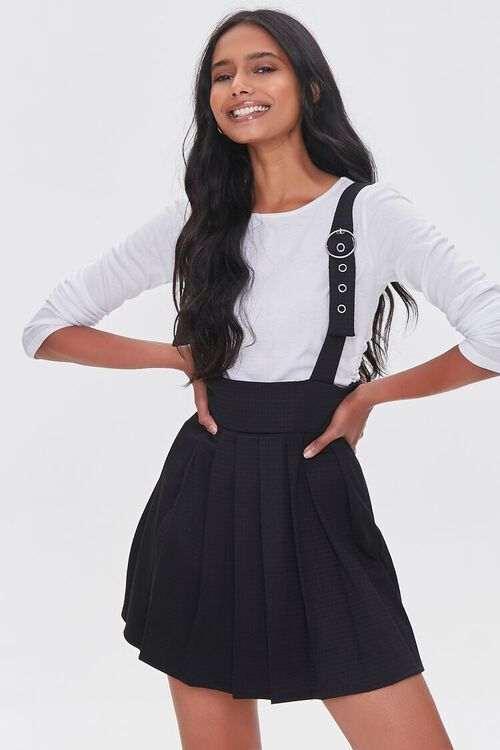 BLACK Pleated Pinafore Dress, image 1