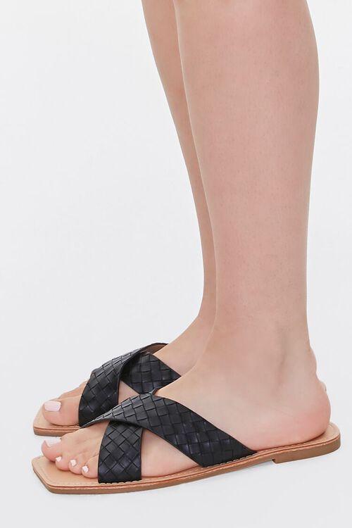Crisscross Square-Toe Flat Sandals, image 2