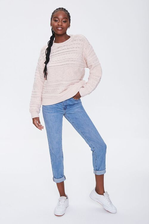 BLUSH Cable Knit Crew Sweater, image 4