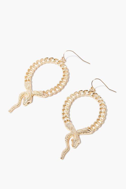 GOLD Snake Pendant Drop Earrings, image 1