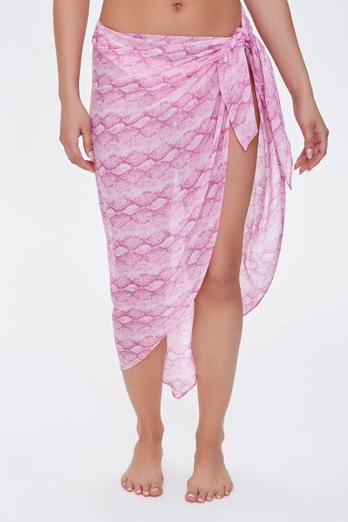 PINK/MULTI Snake Print Swim Cover-Up Sarong, image 2