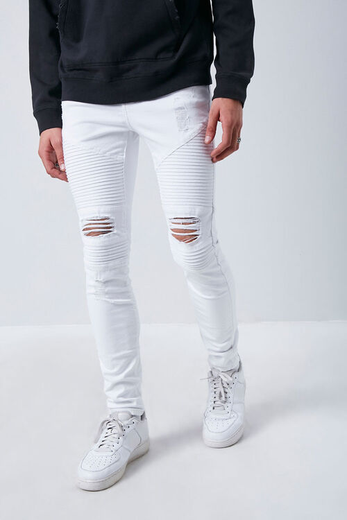 Distressed Moto Skinny Jeans, image 1
