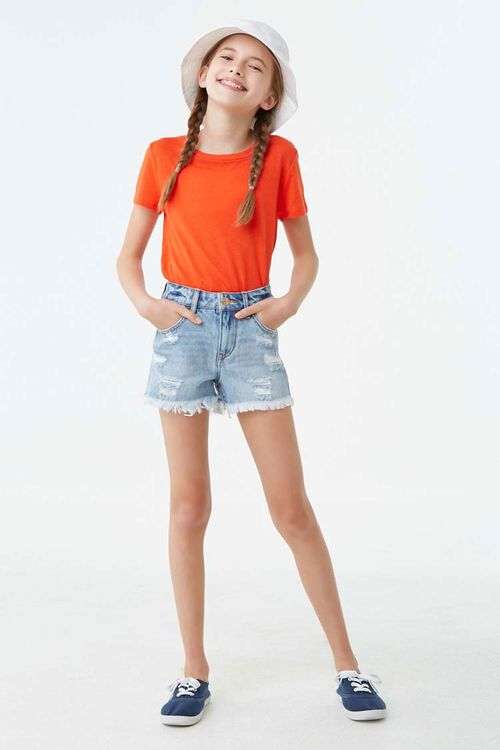 Girls Distressed Denim Shorts (Kids), image 4