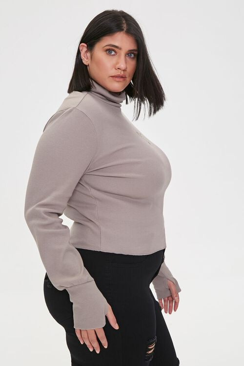 Plus Size Embroidered Rose Turtleneck Top, image 2
