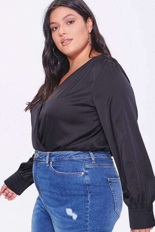 Plus Size Shirred Surplice Bodysuit, image 2