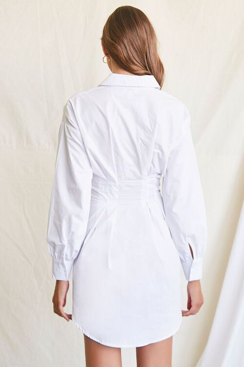 WHITE Lace-Up Shirt Dress, image 3