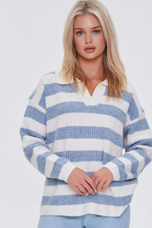 BLUE/IVORY Striped Sweater-Knit Pullover, image 1