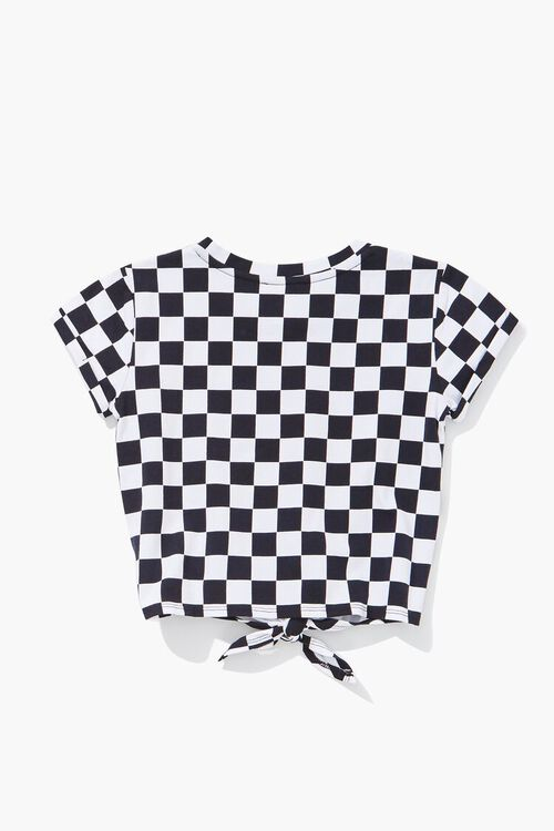 Girls Checkered Print Knotted Tee (Kids), image 2