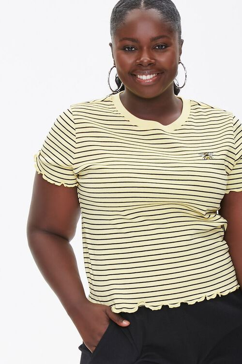 Plus Size Pinstriped Bee Tee, image 1