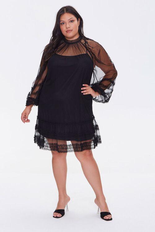 Plus Size Ruffled Mesh Mini Dress, image 4