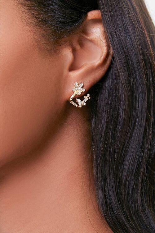 Rhinestone Floral Ear Jackets, image 1