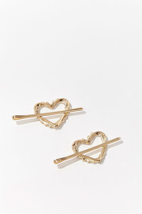 Faux Gem Heart Bobby Pin Set, image 2