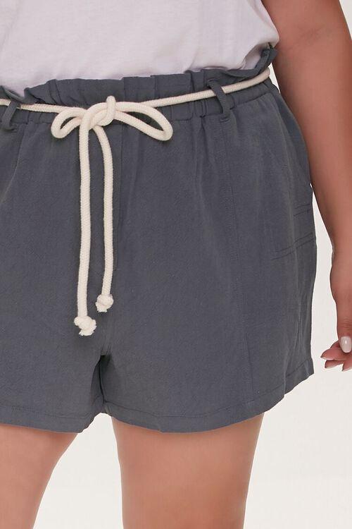 Plus Size Rope Belt Paperbag Shorts, image 5