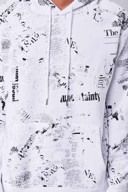WHITE/BLACK Newspaper Print Fleece Hoodie, image 5