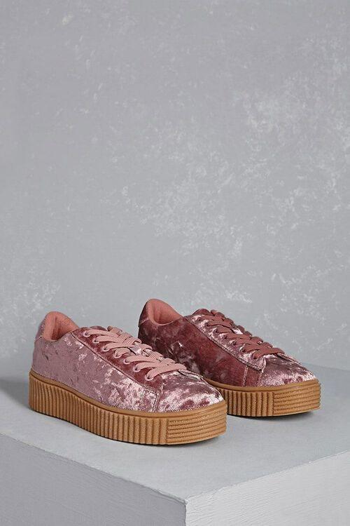 Crushed Velvet Platform Sneakers, image 1