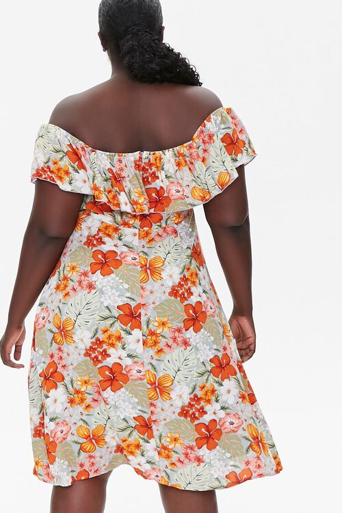 BLUE/MULTI Plus Size Floral Print Mini Dress, image 3