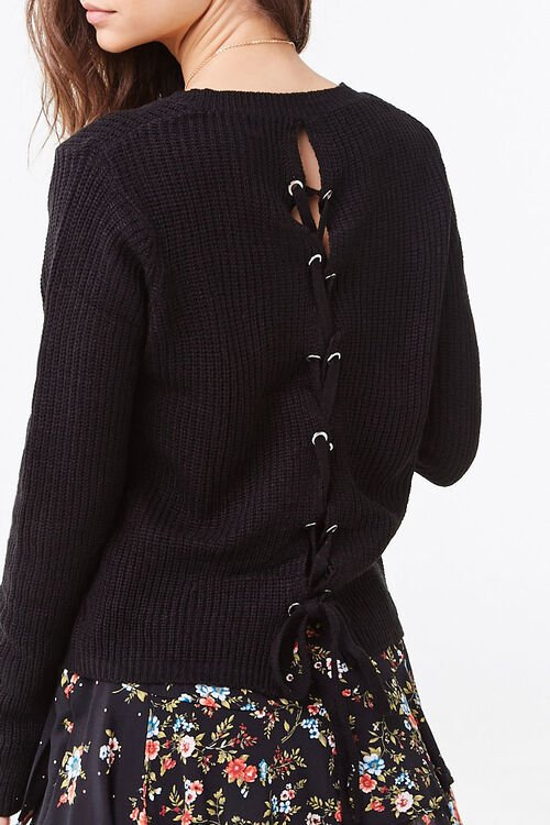 Ribbed Lace-Up Sweater, image 3