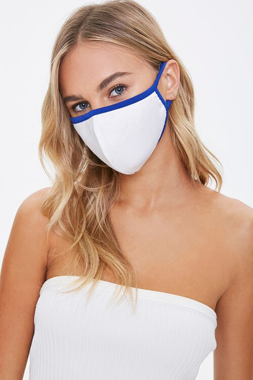 WHITE/BLUE Contrast-Trim Face Mask, image 1