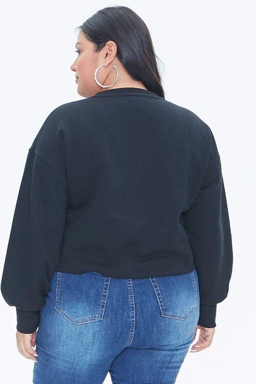 BLACK Plus Size Fleece Crew Neck Top, image 3