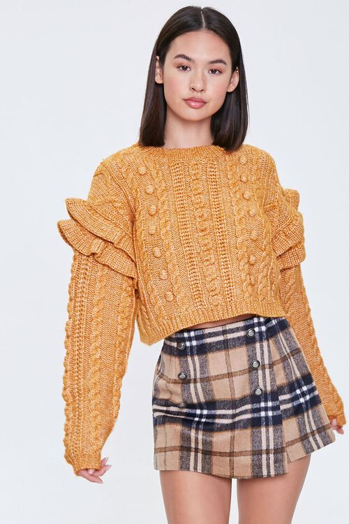 Cable Knit Ruffle Sweater, image 2