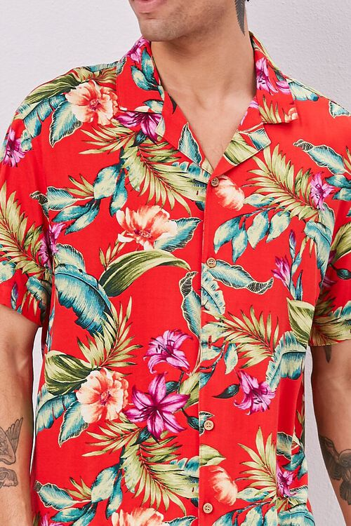 RED/MULTI Classic Fit Tropical Print Shirt, image 5