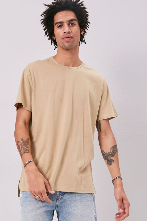 High-Low Vented Crew Neck Tee, image 1