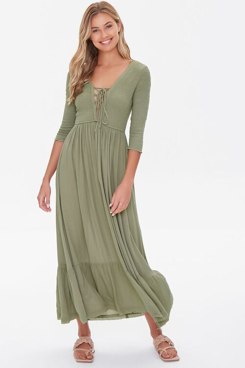 Plunging Lace-Up Maxi Dress, image 1