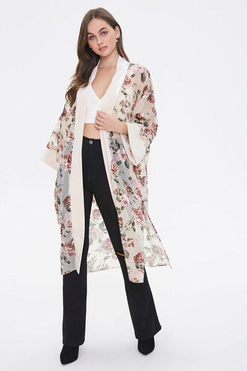 Velvet Rose Print Kimono, image 4
