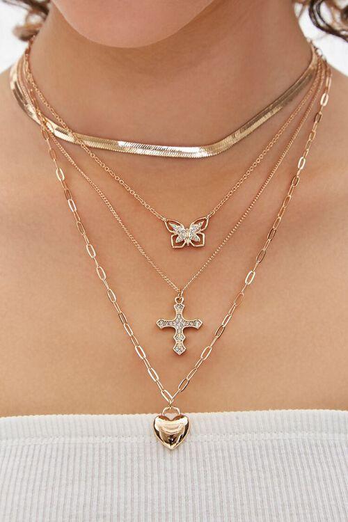 Cross & Butterfly Pendant Necklace Set, image 1