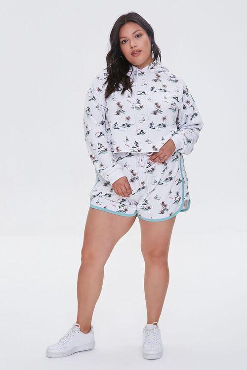 Plus Size Surfer Print Shorts, image 5