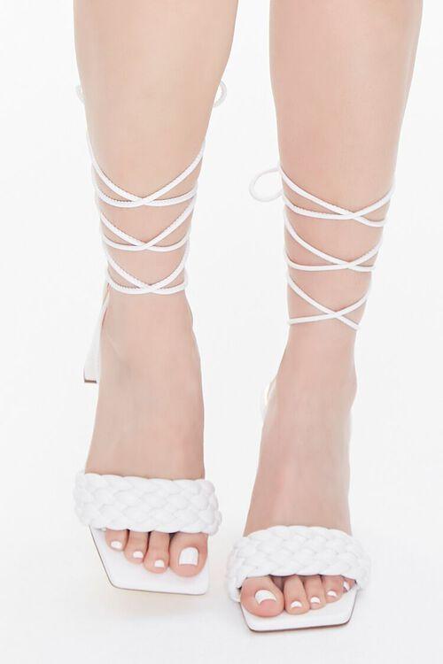 WHITE Braided Wraparound Block Heels, image 4