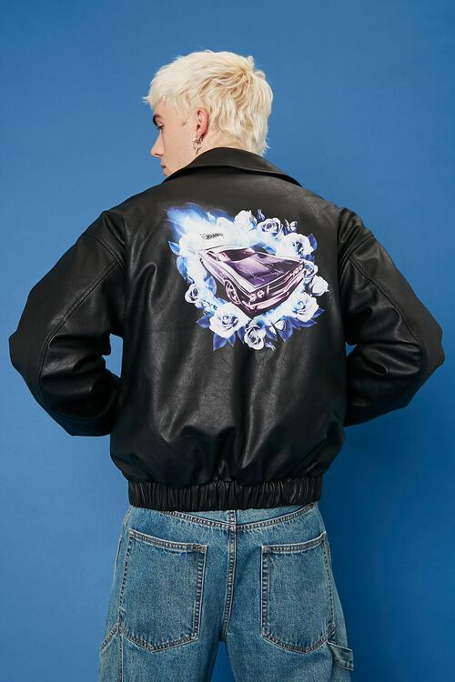 Hot Wheels Graphic Faux Leather Jacket, image 4