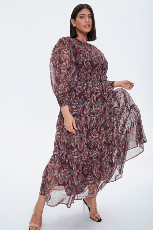 Plus Size Paisley Smocked Dress, image 1